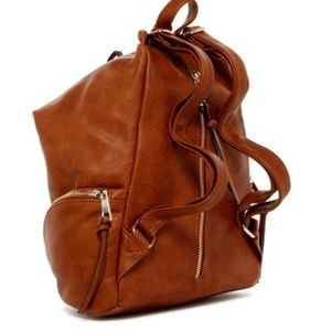 Sondra Roberts Squared Camel Perforated Nappa Bag